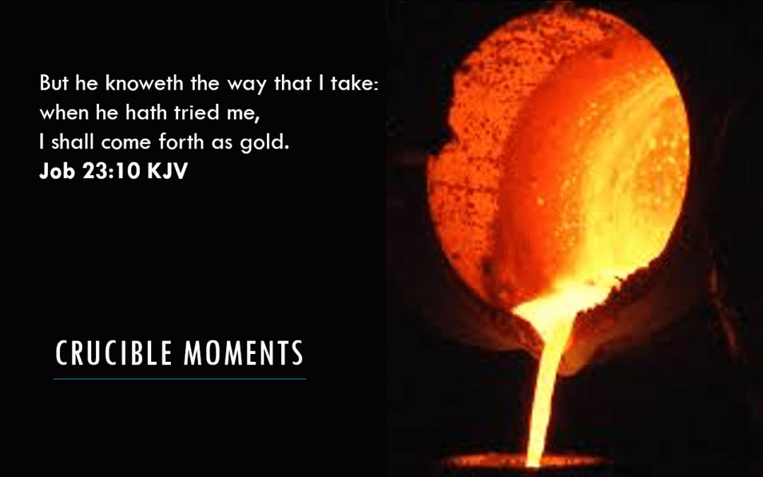 Title Slide from Crucible_Moments_Speaking_presentation_red_hot_ crucible_tipped pouring out gold into a mould_ Job_23:10