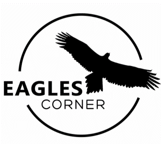 logo text eagles corner with eagle in silhouette