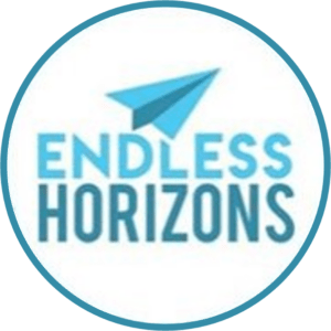 Endless Horizons logo text with paper plane in a roundel