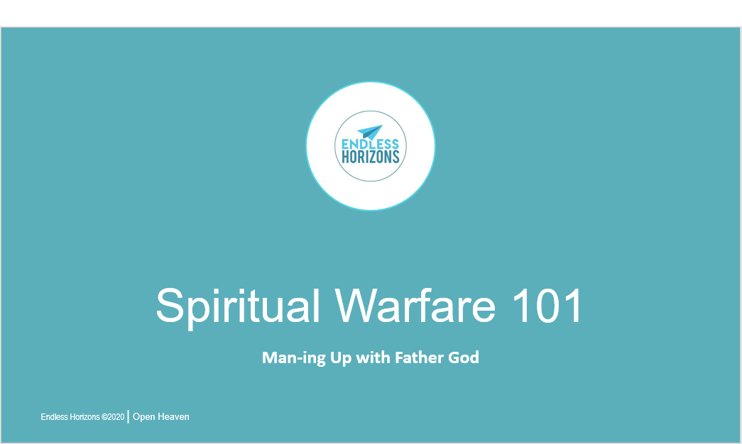 Title Slide from Spiritual-Warfare_101_Speaking_presentation_blue_white text